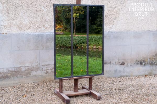 Miroir d?atelier à cadre métallique