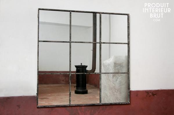Miroir industriel carré 9 sections