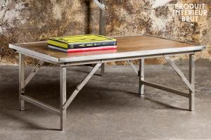 Table basse industrielle table basse m tal et table basse en bois - Chehoma table basse ...